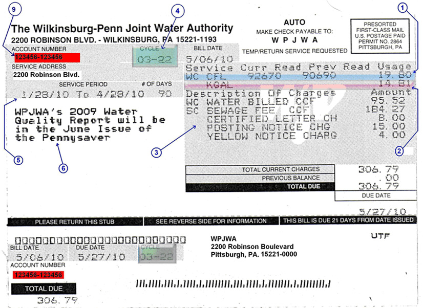 This image is a scanned copy of a bill that has been highlighted and arrows have been added in order to point out the different parts of the bill.